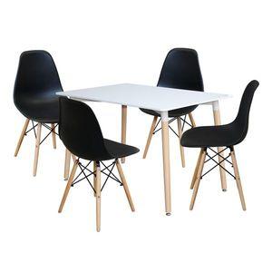 Jedálenský stôl 120x80 UNO biely + 4 stoličky UNO čierne vyobraziť
