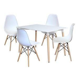 Jedálenský stôl 120x80 UNO biely + 4 stoličky UNO biele vyobraziť