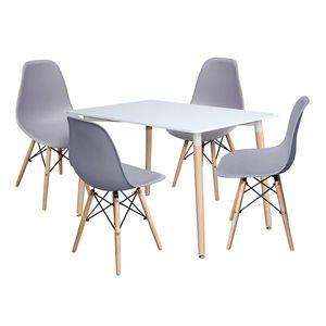 Jedálenský stôl 120x80 UNO biely + 4 stoličky UNO sivé vyobraziť