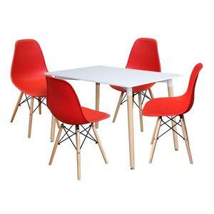 Jedálenský stôl 120x80 UNO biely + 4 stoličky UNO červené vyobraziť