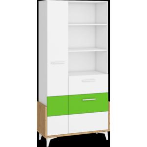 WIP Regál HEY-18 95W Farba: Dub artisan/biela/zelená vyobraziť