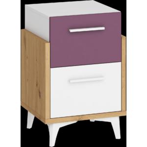 WIP Nočný stolík HEY-19 45 Farba: Dub artisan/biela/fialová vyobraziť