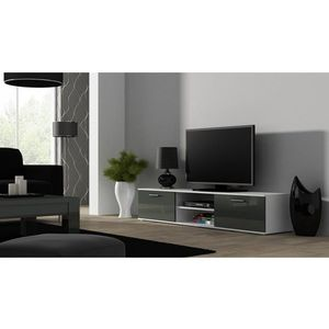 Artcam TV stolík SOHO 180 cm Farba: Biela/sivý lesk vyobraziť