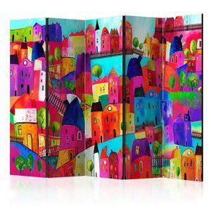 Paraván Rainbow-hued town Dekorhome 225x172 cm (5-dielny) vyobraziť