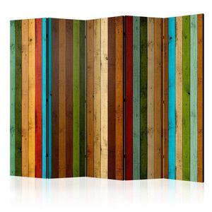 Paraván Wooden rainbow Dekorhome 225x172 cm (5-dielny) vyobraziť