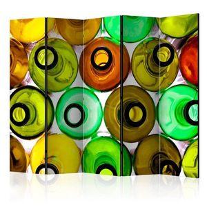 Paraván Bottles (background) Dekorhome 225x172 cm (5-dielny) vyobraziť