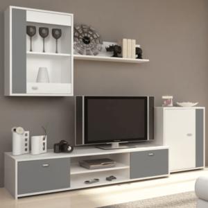 TEMPO KONDELA Obývacia stena, biela/sivá, GENTA vyobraziť
