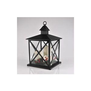 Polux LED Vianočná dekorácia 3xLED/3xAAA lucerna čierna sviečky vyobraziť