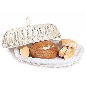 Chlebník oválny bielený prútený s látkou Mochila IV. vyobraziť