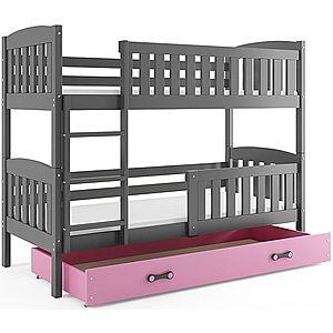 BMS Detská poschodová posteľ KUBUŠ / SIVÁ Farba: Sivá / ružová, Rozmer.: 190 x 80 cm vyobraziť