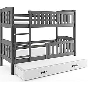 BMS Detská poschodová posteľ KUBUŠ 3 s prístelkou / sivá Farba: Sivá / biela, Rozmer.: 190 x 80 cm vyobraziť