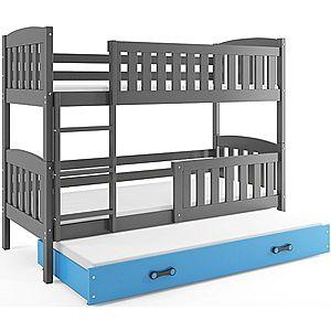 BMS Detská poschodová posteľ KUBUŠ 3 s prístelkou / sivá Farba: Sivá / zelená, Rozmer.: 190 x 80 cm vyobraziť
