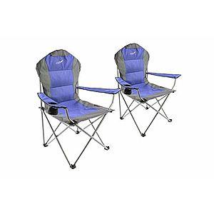 Set skladacia kempingová rybárska stolička Divero Deluxe 2 kusy - modro / sivá vyobraziť