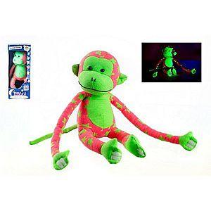 Opice svítící ve tmě plyš 45x14cm růžová/zelená v krabici vyobraziť