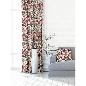 Forbyt, Záves dekoračná alebo látka, OXY ornamentálne kvet, červenošedý, 150 cm vyobraziť
