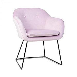 Besoa Zoe, čalúnená stolička, penová výplň, polyesterový poťah, zamat, oceľ, ružová vyobraziť