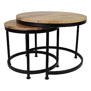 Sada 2 stolíkov s doskou z mangového dreva HSM Collection Sanndine vyobraziť