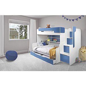 ArtBed Detská poschodová posteľ Harry Farba: biela/modrá vyobraziť