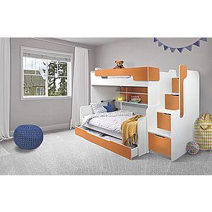 ArtBed Detská poschodová posteľ Harry Farba: Biela/oranžová vyobraziť
