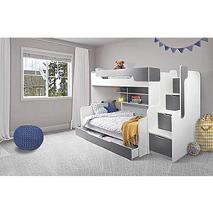 ArtBed Detská poschodová posteľ Harry Farba: Biela/sivá vyobraziť