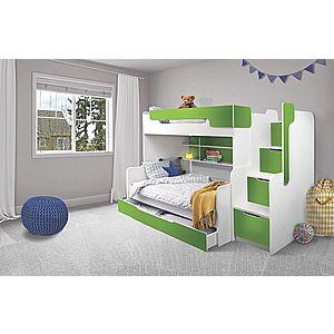ArtBed Detská poschodová posteľ Harry Farba: biela/zelená vyobraziť