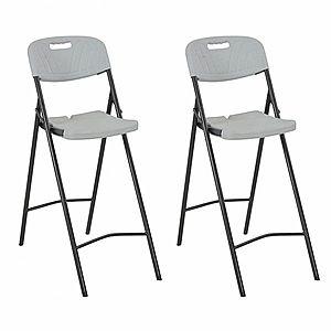 Skladacie barové stoličky 2 ks biela / čierna vyobraziť
