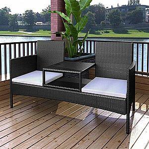 Polyratanový dvojsedačková lavička s čajovým stolíkom čierna vyobraziť
