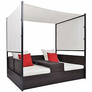 Ratanová posteľ s baldachýnom Hnedá vyobraziť