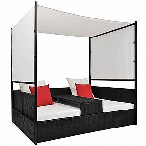 Ratanová posteľ s baldachýnom Čierna vyobraziť