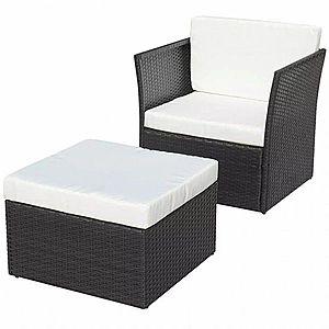 Záhradná stolička s taburetom polyratan Čierna vyobraziť