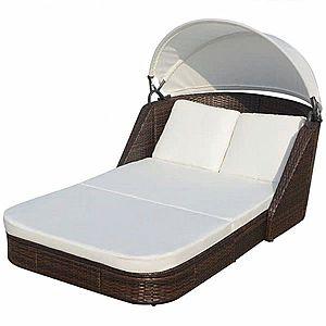 Záhradná ratanová posteľ s baldachýnom Hnedá vyobraziť