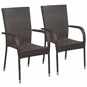 Záhradná stohovateľné stoličky 2 ks polyratan Hnedá vyobraziť
