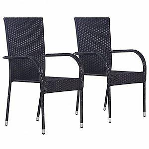 Záhradná stohovateľné stoličky 2 ks polyratan Čierna vyobraziť