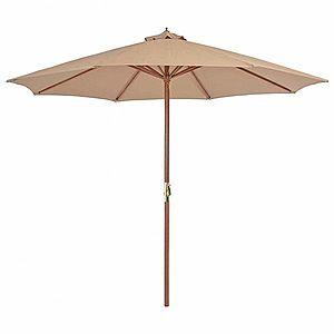 Záhradný slnečník s drevenou tyčou Ø 300 cm Sivohnedá taupe vyobraziť