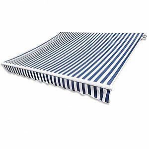 Plachta na markízu 481 x 296 cm plátená Biela / modrá vyobraziť