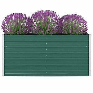 Vyvýšený záhradný truhlík 160 x 80 x 77 cm pozinkovaná oceľ Zelená vyobraziť