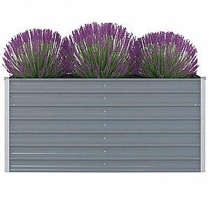 Vyvýšený záhradný truhlík 160 x 80 x 77 cm pozinkovaná oceľ Sivá vyobraziť