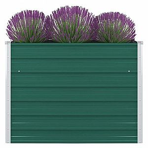 Vyvýšený záhradný truhlík 100 x 100 x 77 cm pozinkovaná oceľ Zelená vyobraziť