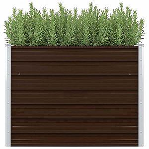 Vyvýšený záhradný truhlík 100 x 100 x 77 cm pozinkovaná oceľ Hnedá vyobraziť