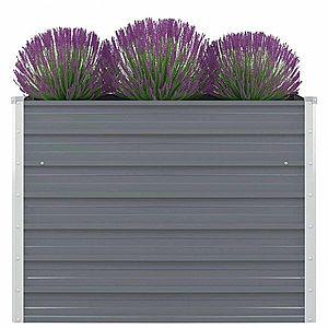Vyvýšený záhradný truhlík 100 x 100 x 77 cm pozinkovaná oceľ Sivá vyobraziť