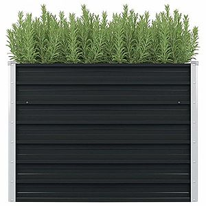 Vyvýšený záhradný truhlík 100 x 100 x 77 cm pozinkovaná oceľ Antracit vyobraziť