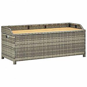 Záhradná lavica s úložným priestorom 120 cm polyratan Sivá vyobraziť