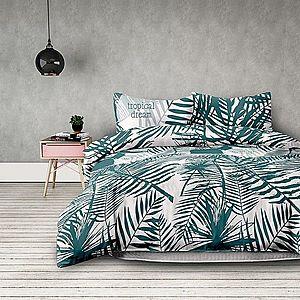 Povlečení z bavlny AmeliaHome Palm bílo-zelené vyobraziť