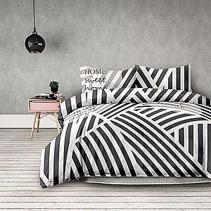 Povlečení z bavlny AmeliaHome Stripes černo-bílé vyobraziť