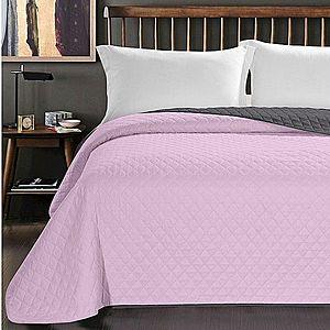 Oboustranný přehoz na postel DecoKing Axel růžový/uhlový vyobraziť