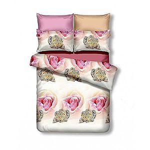 Oboustranné povlečení z mikrovlákna DecoKing Rose&Cheetah bílo-růžové vyobraziť