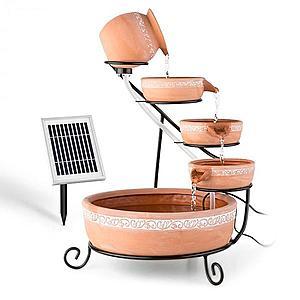 Blumfeldt Empoli, kaskádová fontána, terakota, 5 úrovní, 200 l/h, solárna, 2 W, LED vyobraziť