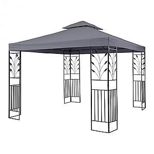 Blumfeldt Odeon Grey, záhradný pavilón, altán, 3 x 3 m, oceľ, polyester, tmavošedý vyobraziť