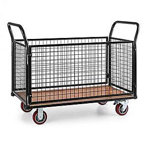 Waldbeck Loadster, mriežkový vozík, pojazdný, skladový vozík, max. 500 kg, drevený spodok, čierny vyobraziť