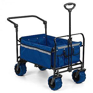 Waldbeck Easy Rider, ťahací vozík, do 70 kg, teleskopická tyč, sklopný, modrý vyobraziť